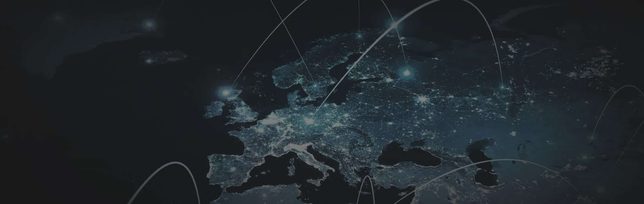Map of europe at night with laser lines